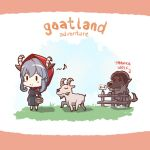 1girl alternate_costume animal_ears animalization basket basketball blue_hair blush_stickers chibi dress edwin_(cyberdark_impacts) eighth_note english fence goat goat_ears goat_horns gotland_(kantai_collection) grass grey_dress grey_hair hair_bun hood horns kantai_collection long_hair mole mole_under_eye musical_note red_hood tanaka_kensuke wolf