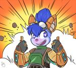 2018 4_fingers action_lines anthro armor biped blue_eyes blue_fur blue_hair brown_ears bust_portrait digital_media_(artwork) duckdraw explosion eyelashes eyewear female fur goggles gradient_background grey_fur hair looking_at_viewer mammal mouse multicolored_fur open_mouth open_smile ponytail portrait purple_nose purple_tongue rodent sabbi_(chupi) short_hair simple_background smile solo teeth thumbs_up two_tone_fur
