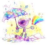 1boy :d bandaid blue_umbrella boots fish full_body game_&_watch highres male_focus mr._game_&_watch nintendo open_mouth puddle rain rainbow rubber_boots shiwasuda_kuuu smile solo standing star super_smash_bros. umbrella water_drop
