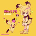 bangs black_hair blonde_hair blush_stickers character_name dress english full_body gen_2_pokemon hair_between_eyes lightning_bolt looking_at_viewer mameeekueya moemon multicolored_hair open_mouth personification pichu pink_legwear poke_ball pokemon pokemon_(creature) pokemon_number shoes simple_background smile standing twintails twitter_username yellow_background yellow_dress yellow_footwear
