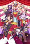 6+girls abigail_williams_(fate/grand_order) absurdres alternate_hairstyle animal_ears apple black_hair black_hat black_leotard blonde_hair blue_eyes breasts bright_pupils brown_hair cane chan_co chibi chibi_inset circus cleavage coattails confetti crossed_arms curtains dagger dark_skin detached_sleeves earrings epaulettes establishment_(fate/grand_order) fate/grand_order fate_(series) food fou_(fate/grand_order) fruit furry gilgamesh gilgamesh_(caster)_(fate) glasses gloves grin hair_over_one_eye hat head_wings highres hildr_(fate/grand_order) hoop hula_hoop ivan_the_terrible_(fate/grand_order) jacket jewelry juggling lavender_hair leotard long_hair mash_kyrielight mephistopheles_(fate/grand_order) multiple_boys multiple_girls napoleon_bonaparte_(fate/grand_order) official_art ortlinde_(fate/grand_order) outline pants pantyhose pectorals pink_hair poster purple_eyes purple_hair queen_of_sheba_(fate/grand_order) red_jacket scathach_(fate)_(all) scathach_skadi_(fate/grand_order) sharp_teeth sideburns skin_tight smile teeth textless thomas_edison_(fate/grand_order) thrud_(fate/grand_order) top_hat trapeze twintails valkyrie_(fate/grand_order) weapon white_gloves white_outline white_pants
