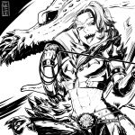 1girl absurdres armor cete_(controllingtime) deviljho deviljho_(armor) evil_smile greyscale highres mole mole_under_eye monochrome monster_hunter monster_hunter:_world open_mouth short_hair smile solo tongue tongue_out