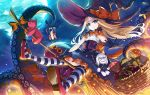 abigail_williams_(fate/grand_order) bare_shoulders black_bow black_gloves black_hat blonde_hair blue_eyes bow breasts broom broom_riding character_doll commentary_request corset fate/grand_order fate_(series) flying full_moon gloves halloween hat lavinia_whateley_(fate/grand_order) long_hair moon morizono_shiki night orange_bow smile solo tentacle tentacles white_hair witch_hat