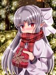 1girl 2018 blush bow box capelet christmas dated dot_zip eyebrows_visible_through_hair gift gift_box hair_bow highres holding holding_box long_hair looking_at_viewer melty_blood pointy_ears red_eyes red_scarf scarf scarf_over_mouth shiny shiny_hair silver_hair solo tsukihime upper_body white_bow white_capelet white_coat white_len