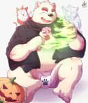 2018 anthro bear belly blush bulge candy clothing food fruit fur ghost group halloween holidays humanoid_hands magic male mammal overweight overweight_male park_kr polar_bear pumpkin simple_background sitting spirit tongue tongue_out underwear white_fur