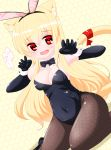 1girl :d animal_ear_fluff animal_ears bangs bare_shoulders black_footwear black_gloves black_hairband black_leotard black_neckwear blonde_hair bow bowtie breasts brown_legwear bunny_ears cat_ears cat_girl cat_tail catsuit cleavage commentary_request covered_navel detached_collar dutch_angle elbow_gloves eyebrows_visible_through_hair fake_animal_ears fang gloves hair_between_eyes hairband highres honeycomb_(pattern) honeycomb_background kanijiru leotard long_hair medium_breasts open_mouth original pantyhose red_eyes smile solo strapless strapless_leotard tail tail_raised translation_request twitter_username very_long_hair white_collar wing_collar wrist_cuffs