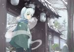 1girl alternate_costume architecture east_asian_architecture expressionless eyebrows_visible_through_hair ghost green_eyes hairband haori highres japanese_clothes katana konpaku_youmu konpaku_youmu_(ghost) looking_at_viewer samurai scarf sheath sheathed short_hair snow snowing sword touhou tree weapon yuuhan_(ajke4222)