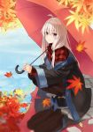1girl ahoge autumn_leaves azuuru bangs black_coat black_footwear black_legwear blurry_foreground closed_mouth coat collared_shirt commentary_request day elaina_(majo_no_tabitabi) hair_between_eyes hair_ornament high_heels highres holding holding_umbrella leaf long_hair long_sleeves looking_at_viewer majo_no_tabitabi maple_leaf off_shoulder outdoors pantyhose pavement plaid plaid_shirt purple_eyes red_shirt reflection shirt sidelocks smile solo squatting umbrella water white_hair wide_sleeves