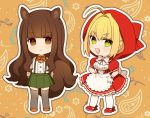 2girls :d ahoge animal_ears apron bangs blonde_hair blush bow breasts brown_eyes brown_footwear brown_hair cleavage dress eyebrows_visible_through_hair fate/extra fate_(series) gloves green_eyes green_skirt grey_legwear hair_between_eyes hair_intakes hands_on_hips hood hood_up karokuchitose kemonomimi_mode kishinami_hakuno_(female) long_hair looking_at_viewer medium_breasts multiple_girls nero_claudius_(fate) nero_claudius_(fate)_(all) open_mouth pantyhose pleated_skirt puffy_short_sleeves puffy_sleeves red_bow red_dress red_footwear shirt shoes short_sleeves sidelocks skirt smile suspender_skirt suspenders tail thighhighs very_long_hair waist_apron white_apron white_bow white_gloves white_legwear white_shirt