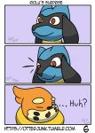 2018 absurd_res buizel comic hi_res nintendo otterjunk pokémon pokémon_(species) riolu text video_games