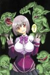 1girl 4boys ? absurdres bow bowtie breasts clueless finger_to_mouth goblin goblin_slayer! green_skin highres hood hoodie jumping large_breasts licking_lips looking_at_viewer monster multiple_boys open_mouth pointy_ears purple_hair red_eyes school_uniform shinjou_akane short_hair shushing skirt smile ssss.gridman thought_bubble tongue tongue_out you_gonna_get_raped