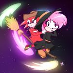 broom clothing cowboy_hat echidna female flying fur hair halloween hat hedgehog holidays knuckles_the_echidna magic_user male mammal monotreme night_sky pink_fur pink_hair sonia_the_hedgehog sonic_(series) sonic_underground tamers12345 witch