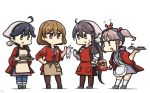 4girls :d ahoge akebono_(kantai_collection) alternate_costume animal black_hair brown_eyes brown_legwear bunny chopsticks crab gloves hair_between_eyes hair_bobbles hair_ornament hairclip hamu_koutarou happi highres holding holding_chopsticks holding_tray japanese_clothes kantai_collection kneehighs light_brown_hair long_hair long_sleeves multiple_girls oboro_(kantai_collection) open_mouth pantyhose pink_eyes pink_hair purple_eyes purple_hair sazanami_(kantai_collection) short_hair short_sleeves side_ponytail simple_background smile standing tray twintails ushio_(kantai_collection) white_background white_gloves white_legwear