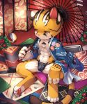 abs amber_eyes anthro ball blush bulge chest_tuft claws clothing cub feline flower fundoshi fur half-closed_eyes inside japanese_clothing kimono male mammal navel pawpads plant raier rug sitting solo tiger tuft umbrella underwear unrealplace young
