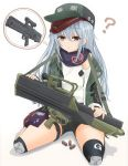 1girl ? assault_rifle bangs black_shorts blue_scarf boots brown_footwear closed_mouth commentary_request elbow_pads eyebrows_visible_through_hair frown full_body g11 g11_(girls_frontline) girls_frontline green_hat green_jacket gun hat heckler_&_koch highres holding holding_gun holding_weapon ichigotofu jacket long_hair long_sleeves looking_at_viewer off_shoulder open_clothes open_jacket red_eyes rifle scarf shadow shell_casing shirt short_shorts shorts silver_hair sitting sleeveless sleeveless_shirt solo thigh_strap thought_bubble wariza weapon white_shirt