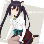 1girl alternate_costume animal_ears bell birthday black_hair blush brown_eyes brown_legwear cat_ears cat_tail commentary elbow_gloves gloves k-on! long_hair looking_at_viewer miicha nakano_azusa open_mouth pantyhose puffy_short_sleeves puffy_sleeves red_skirt shirt short_sleeves skirt solo striped striped_skirt tail twintails twitter_username white_gloves white_shirt