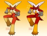 2016 3_fingers anthro blaziken blue_eyes claws comparison digital_drawing_(artwork) digital_media_(artwork) feathers gradient_background looking_at_viewer nintendo pokémon pokémon_(species) red_feathers shiny_pokémon simple_background skdaffle sparkles video_games white_claws yellow_feathers yellow_sclera