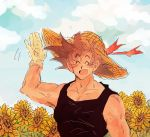1boy :d ^_^ arm_at_side arm_up bare_arms bare_shoulders black_hair black_shirt blue_sky closed_eyes cloud cloudy_sky day dqn_(rattamgmg) dragon_ball dragonball_z eyebrows_visible_through_hair eyes_closed flower gloves hand_up happy hat male_focus open_mouth outdoors red_ribbon ribbon shirt short_hair single_glove sky sleeveless sleeveless_shirt smile son_gokuu spiked_hair standing straw_hat sunflower upper_body waving white_gloves yellow_flower