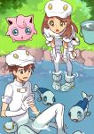 1boy 1girl aether_foundation_employee bending_forward boots brown_hair bucket creatures_(company) elbow_gloves game_freak gen_1_pokemon gen_6_pokemon gen_7_pokemon gloves grass green_eyes jigglypuff long_hair looking_at_another nintendo pokemon pokemon_(anime) pokemon_(creature) pokemon_sm_(anime) rikovui river sitting uniform white_footwear white_gloves wishiwashi