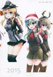 3girls absurdres anchor_hair_ornament animal_ears aqua_eyes arms_behind_back bankoku_ayuya black_ribbon black_skirt blonde_hair blush bound bound_arms box buttons deer_ears doughnut food gift gift_box gloves hair_ornament hat highres holding iron_cross kantai_collection kumano_(kantai_collection) looking_at_viewer low_twintails microskirt military military_hat military_uniform multiple_girls open_mouth peaked_cap pleated_skirt prinz_eugen_(kantai_collection) ribbon santa_hat skirt smile suzuya_(kantai_collection) thighhighs twintails uniform white_gloves zettai_ryouiki