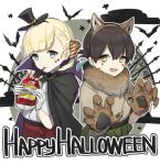 2girls animal_ears bangs bat black_cape blonde_hair blue_eyes blue_ribbon blunt_bangs brown_eyes brown_hair cape claw_pose dougi drinking english eyebrows_visible_through_hair fake_animal_ears fang folded_ponytail green_skirt hair_ornament hakama_skirt halloween halloween_costume hat japanese_clothes kantai_collection long_hair looking_at_viewer multiple_girls paw_pose red_skirt ribbon shin'you_(kantai_collection) skirt taiyou_(kantai_collection) tareme top_hat vampire_costume werewolf wolf_ears yamashiki_(orca_buteo)