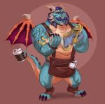 anthro barista beverage blush canine claws clothing coffee cup demie_duken dragon duo excited eyewear facial_hair gavin_(spyro) glasses happy male mammal mustache polartoons scalie size_difference smile spyro_reignited_trilogy spyro_the_dragon tattoo thebluebear27 video_games western_dragon wings