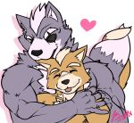 <3 anthro blush canine clothed clothing duo ear_nibble embrace fox fox_mccloud male male/male mammal nibbling nintendo size_difference star_fox topless video_games wolf wolf_o'donnell yongdasom