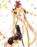 abigail_williams_(fate/grand_order) artist_request ass bandaid_on_forehead bangs black_bow black_hat black_leotard blonde_hair blue_eyes blush bow closed_mouth crossed_bandaids fate/grand_order fate_(series) forehead hair_bow hat highres hips hoop hula_hoop leotard long_hair orange_bow parted_bangs star stuffed_animal stuffed_toy teddy_bear twintails very_long_hair white_background