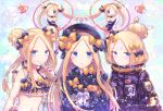 5girls abigail_williams_(fate/grand_order) alternate_hairstyle bandaid_on_forehead bangs bare_shoulders belt bikini black_bikini black_bow black_dress black_hat black_jacket black_leotard blonde_hair blue_eyes blush bow breasts closed_mouth collarbone crossed_bandaids double_bun dress emerald_float fate/grand_order fate_(series) forehead fork frilled_bikini frills fuji_den_fujiko hair_bow hair_bun hat heroic_spirit_traveling_outfit high_collar highres hoop hula_hoop jacket leotard licking_lips long_hair looking_at_viewer multiple_girls multiple_persona navel one_eye_closed open_mouth orange_bow parted_bangs polka_dot polka_dot_bow ribbed_dress scrunchie sleeves_past_fingers sleeves_past_wrists small_breasts stuffed_animal stuffed_toy swimsuit teddy_bear tongue tongue_out twintails waist wrist_scrunchie