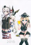 3girls :d absurdres alcohol amatsukaze_(kantai_collection) anchor_hair_ornament aqua_eyes badge bankoku_ayuya battery beer beer_mug black_choker black_panties black_ribbon blonde_hair blush button_badge cheerleader choker cup dress elbow_gloves garter_straps gloves hair_ornament hair_tubes hairband hat highleg highleg_panties highres holding holding_cup iron_cross kantai_collection long_hair low_twintails military_hat mini_hat multiple_girls open_mouth panties peaked_cap pleated_skirt prinz_eugen_(kantai_collection) red_legwear rensouhou-chan rensouhou-kun ribbon sailor_collar sailor_dress shimakaze_(kantai_collection) short_dress silver_hair single_glove skirt smile striped striped_legwear teruterubouzu thighhighs twintails two_side_up underwear white_gloves windsock yellow_eyes