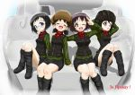 4girls ;d absurdres alina_(girls_und_panzer) arm_around_shoulder bangs black_footwear black_hat black_skirt black_vest boots chestnut_mouth closed_mouth commentary_request cyrillic daxz240r emblem extra eyes_closed girls_und_panzer glasses green_jacket ground_vehicle hat highres jacket knee_boots kv-2 long_sleeves looking_at_viewer military military_uniform military_vehicle miniskirt motor_vehicle multiple_girls nina_(girls_und_panzer) one_eye_closed open_mouth pleated_skirt pravda_military_uniform red_shirt round_eyewear russian salute shadow shirt short_hair sitting skirt smile tank tank_helmet turtleneck two-finger_salute uniform vest