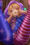 1girl american_flag_legwear ass blonde_hair breasts brown_eyes clownpiece commentary_request flag_print hands_on_own_face hat highres legs_up looking_at_viewer lying neck_ruff on_back open_mouth pantyhose shounen_(hogehoge) small_breasts solo sweat thighs touhou