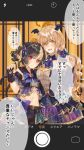 2girls animal_ears bat bat_hair_ornament bat_wings bell belt blonde_hair blush bow breasts cat_ears cat_tail cellphone cellphone_camera claw_pose cleavage dress extra_ears eyebrows_visible_through_hair eyes_visible_through_hair fatal_twelve fingerless_gloves fur-trimmed_collar fur-trimmed_gloves fur_trim gem gloves hair_ornament hair_ribbon halloween hand_on_another's_back highres jewelry large_breasts long_hair looking_at_viewer matsusatoru_kouji midriff mishima_miharu multicolored_hair multiple_girls navel nyan open_mouth phone print_dress pumpkin red_eyes ribbon shishimai_rinka short_hair short_sleeves skirt small_breasts smile spider_web_print tail translation_request two-tone_hair wings yellow_eyes yuri