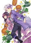 1boy 1girl :d black_footwear black_hair black_pants bow brown_eyes dessert dress food hair_bun jacket long_hair long_sleeves official_art okashina_tensei open_mouth pants plant pumpkin purple_dress purple_eyes purple_jacket red_bow shuri_yasuyuki silver_hair smile standing vines white_background