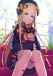1girl abigail_williams_(fate/grand_order) bangs black_bow black_dress black_hat blonde_hair bloomers blue_eyes bow bug butterfly closed_mouth coconat_summer commentary_request couch curtains dress fate/grand_order fate_(series) hair_bow hat head_tilt highres indoors insect knees_together_feet_apart long_hair long_sleeves looking_at_viewer object_hug on_couch orange_bow parted_bangs petals polka_dot polka_dot_bow sitting sleeves_past_fingers sleeves_past_wrists solo stuffed_animal stuffed_toy sunlight teddy_bear transparent underwear very_long_hair white_bloomers window