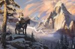 2018 amazing_background anthro armor banner canine clothed clothing cloud detailed_background duo equine feral fog fully_clothed hi_res holding_object horse male mammal mountain outside pauldron plate_armor reins rhos riding saddle sky snow stirrups tree wolf