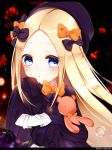 1girl abigail_williams_(fate/grand_order) bangs black_bow black_dress black_hat blonde_hair blue_eyes blush bow bubble bug butterfly commentary_request dress eyebrows_visible_through_hair fate/grand_order fate_(series) forehead hair_bow hand_up hat highres insect letterboxed long_hair long_sleeves looking_at_viewer object_hug orange_bow parted_bangs parted_lips polka_dot polka_dot_bow rishou_(awayukiseyana) sleeves_past_fingers sleeves_past_wrists solo stuffed_animal stuffed_toy teddy_bear twitter_username very_long_hair