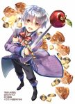 1boy :d apple apple_pie batter black_footwear black_pants boots bow brown_eyes checkerboard_cookie cookie food fruit full_body glint highres holding holding_sword holding_weapon jacket official_art okashina_tensei open_mouth pants purple_jacket red_bow red_neckwear shuri_yasuyuki silver_hair smile solo standing sword weapon whisk white_background