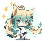1girl :o ahoge animal_ears atalanta_(fate) bangs black_legwear blue_buruma blue_jacket blush buruma cat_ears chibi commentary_request eyebrows_visible_through_hair fate/apocrypha fate_(series) full_body gradient_hair green_eyes green_hair gym_shirt gym_uniform hair_between_eyes holding holding_jacket jacket jacket_removed kneehighs light_brown_hair long_hair looking_at_viewer milkpanda multicolored_hair parted_lips puffy_short_sleeves puffy_sleeves shirt short_sleeves solo sparkle standing track_jacket very_long_hair white_footwear white_shirt
