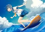 1girl artist_name bikini blue_hair blue_sky cloud commentary_request dated hair_ornament hairclip kusakabe_(kusakabeworks) ocean original outdoors school_uniform see-through serafuku short_hair sky solo surfboard surfing swimsuit swimsuit_under_clothes water waves wet wet_clothes
