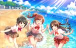 3girls :d ahoge beach black_hair blue_sky brown_eyes brown_hair building cloud collared_shirt eyebrows_visible_through_hair eyes_closed hand_holding highres idolmaster idolmaster_cinderella_girls idolmaster_cinderella_girls_starlight_stage igarashi_kyouko kohinata_miho light_rays long_hair multiple_girls ocean official_art one_eye_closed open_mouth plaid ribbon school_uniform shimamura_uzuki shirt short_hair side_ponytail skirt sky smile sparkle splashing sunbeam sunlight