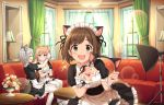 3girls :d alternate_costume anastasia_(idolmaster) animal_ears apron blonde_hair blush_stickers brown_hair cat_ears couch eyes_closed fang fang_out flower frills green_eyes idolmaster idolmaster_cinderella_girls idolmaster_cinderella_girls_starlight_stage indoors lamp light_brown_hair maekawa_miku maid maid_apron maid_headdress multicolored_hair multiple_girls ninomiya_asuka official_art open_mouth purple_eyes short_hair silver_hair smile sparkle table thighhighs window