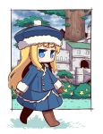1girl bangs blonde_hair blue_eyes blue_hat blue_jacket blue_skirt blue_sky blush boots brown_footwear brown_mittens building bush chibi closed_mouth cloud cloudy_sky collared_shirt commentary_request day eyebrows_visible_through_hair flower fur-trimmed_hat fur-trimmed_sleeves fur_trim green_shirt gunner hat highres jacket juliet_sleeves knee_boots long_hair long_sleeves looking_away mittens naga_u pleated_skirt puffy_sleeves sekaiju_no_meikyuu shirt skirt sky solo standing tree v-shaped_eyebrows very_long_hair white_background yellow_flower