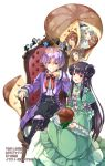 2girls 3boys :d :o ahoge black_bow black_footwear black_hair black_pants blue_eyes boots bow bread brown_eyes brown_hair chair cover cover_page crown double_bun dress food green_dress hair_bow highres legs_crossed long_hair long_sleeves medallion multiple_boys multiple_girls novel_cover official_art okashina_tensei open_mouth pants purple_eyes purple_hair red_bow shuri_yasuyuki sitting smile white_background white_hair wide_sleeves