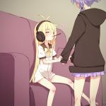 2girls ahoge black_hoodie blonde_hair commentary_request couch eyebrows_visible_through_hair eyes_closed facing_another food headphones heart highres hood hood_down long_hair long_sleeves miniskirt multiple_girls pillow pocky purple_hair purple_skirt short_sleeves sitting skirt sleeve_tug sleeves_past_wrists tsurumaki_maki very_long_hair vocaloid voiceroid yamadori_enka yuzuki_yukari