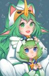 2girls alternate_costume alternate_hair_color alternate_hairstyle blue_eyes fluffy_ears green_eyes green_hair league_of_legends lulu_(league_of_legends) magical_girl multiple_girls pajamas pointy_ears soraka star_guardian_lulu star_guardian_soraka yordle