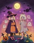2girls aqua_eyes bat black_legwear black_nails blonde_hair bow candy cape cosplay cross doughnut dress eating food frankenstein's_monster frankenstein's_monster_(cosplay) full_moon ghost gradient gradient_background grey_dress halloween halloween_costume hands_up hat hat_bow heart heterochromia highres jack-o'-lantern moon multiple_girls mushroom_on_head nail_polish night nokanok orange_dress original patches pink_bow pumpkin purple_eyes sharp_nails shoes short_hair signature single_shoe star white_hair witch witch_hat
