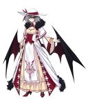 1girl alternate_costume arm_at_side bangs bat_wings breasts capelet cleavage closed_mouth dress earrings full_body fur_trim grey_hair hair_between_eyes hand_up hat hat_ribbon high_heels highres jewelry layered_clothing layered_dress long_sleeves looking_at_viewer older open_hand outline pelvic_curtain pink_lips pointy_ears print_dress red_eyes red_footwear remilia_scarlet ribbon short_hair shukusuri smile sun_hat touhou veil white_background white_dress white_hat wide_sleeves wings yellow_dress