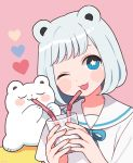 1girl animal_ears bangs bear bear_ears blue_eyes blush cup drinking drinking_straw eyes_closed heart highres holding holding_cup medium_hair nokanok one_eye_closed open_mouth original pink_background sailor_collar shirt short_sleeves silver_hair sitting smile star star-shaped_pupils symbol-shaped_pupils upper_body white_shirt