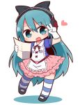 1girl :d arm_up black_bow black_footwear blue_eyes blue_hair blush bow chibi collared_shirt commentary_request copyright_request frilled_skirt frills full_body gloves hair_bow head_tilt headphones heart heart_print highres holding long_hair mary_janes naga_u neck_ribbon open_mouth pink_skirt print_skirt puffy_short_sleeves puffy_sleeves purple_shirt red_ribbon ribbon shadow shirt shoes short_sleeves skirt smile solo standing standing_on_one_leg striped striped_legwear thighhighs v very_long_hair white_background white_gloves